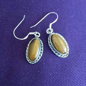 Sterling silver tiger eye earrings