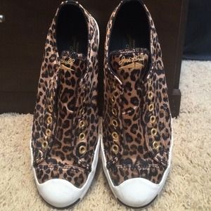 Converse Shoes - Like new jack Purcell converse sz8.5 leopard satin
