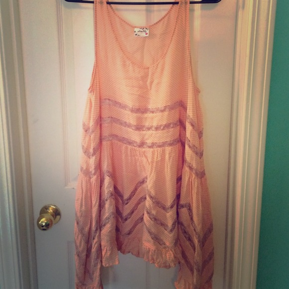 NWT Free People Voile Lace Trapeze Slip Top Dress Ivory Blush floral Print combo