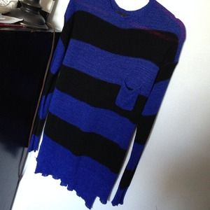 Slouchy striped blue/black sweater