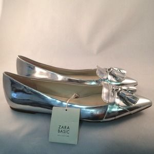 ZARA SZ 7 METALLIC FLATS POINTED LOAFER Shoes