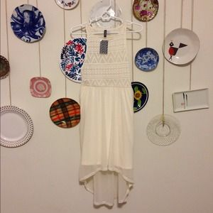 Chiffon Cream Aztec Print High Low Dress