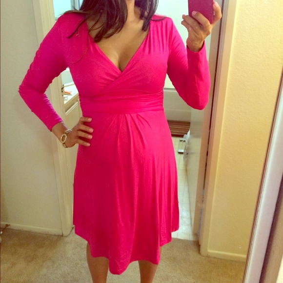 46% off Dresses & Skirts - Hot Pink Long Sleeve Maternity Dress ...