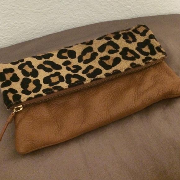 bc1e550b0ace GAP Bags | Leopard Print Leather Foldover Clutch | Poshmark