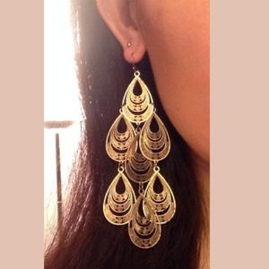 Jewelry - Long Elegant Dangly Gold Chandelier Earrings