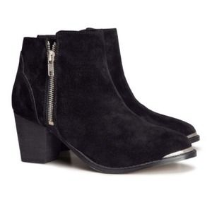 H&M Shoes - Genuine Suede Metal Toe Boots