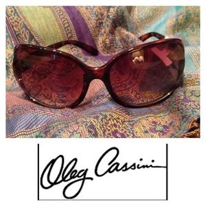 Oleg Cassini Accessories - OLEG CASSINI  Oversized Tortoise Shell Sunglasses