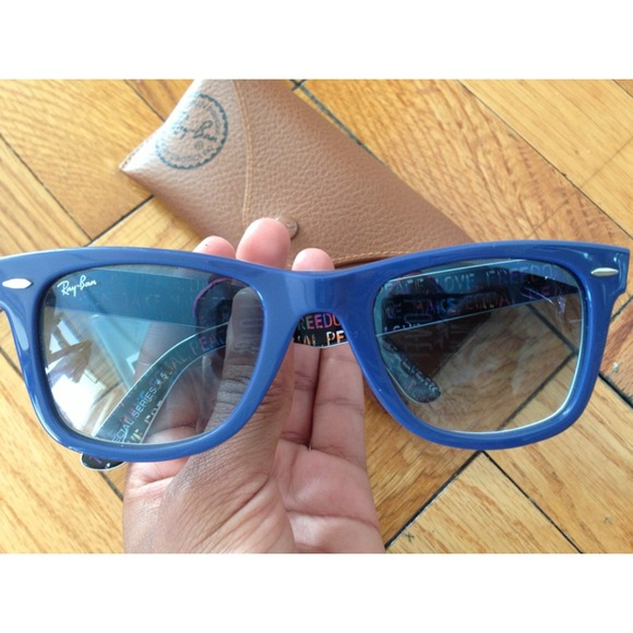 ray ban sunglasses blue tint  ray ban accessories ray bans peace love freedom blue tint sunglasses??