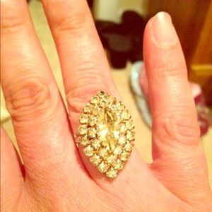 Vintage yellow stone cocktail ring