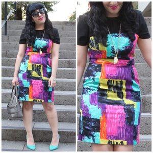 Trina Turk Multi Color Print Sheath Dress