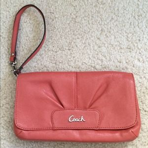 Authentic coach coral wristlet