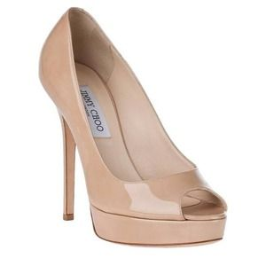 Jimmy Choo - crown patent leather peep toe.