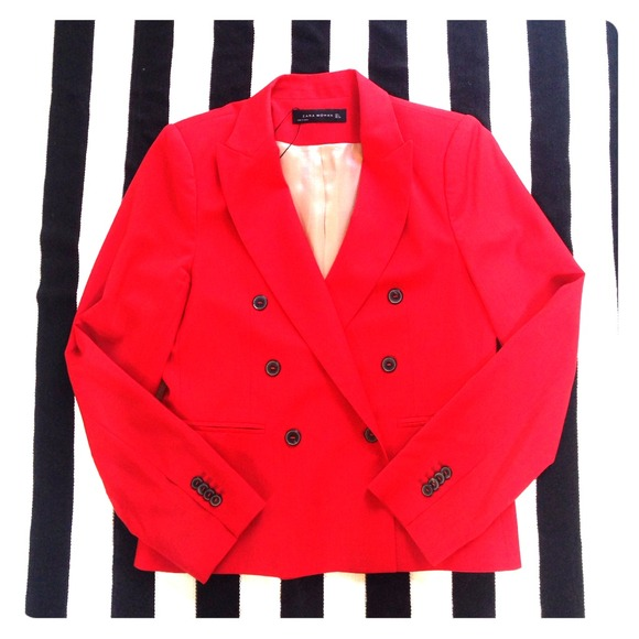 67% off Zara Jackets & Blazers - Zara Woman Red Double Breasted ...