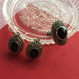 Marcasite/onyx ring/earrings. Vintage.
