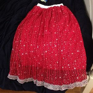 Cute stretchable little girls red skirt