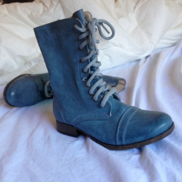 71% off Shoes - Blue combat boots from Ines's closet on Poshmark