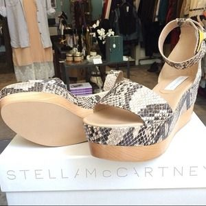 Stella McCartney Snakeskin Wedges