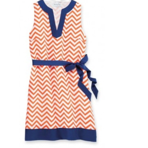 56% off mud pie Dresses & Skirts - Orange and Navy chevron game ...