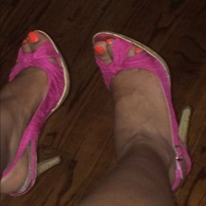 Shoes - Pink fabric sling back sandals