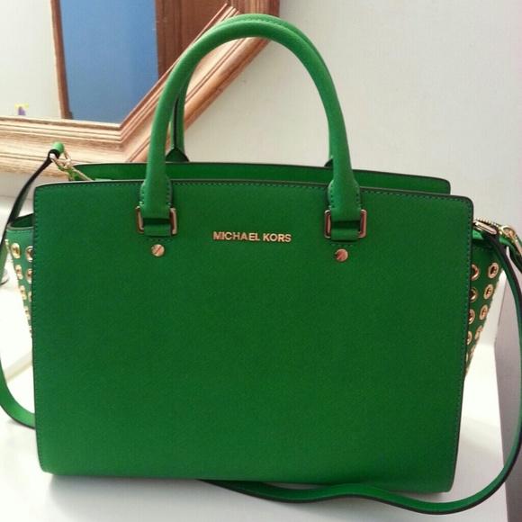 dfeb91827e7e official michael kors selma green bag a9ff3 7bb54