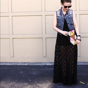 Free People Dresses & Skirts - Free People Crochet/Lace Black Maxi Dress