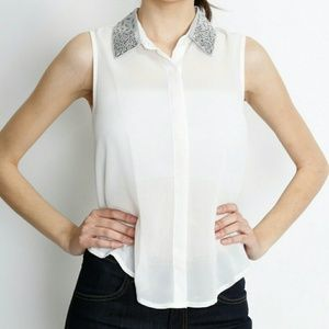 NWT sheer studded collar blouse