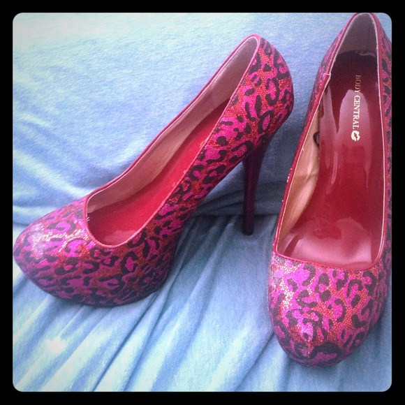Body Central Shoes - Sparkly animal print heels!