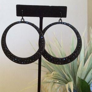 Black Crystalized Hoop Earrings last one