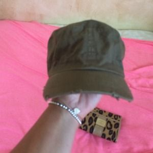 Distressed army green hat