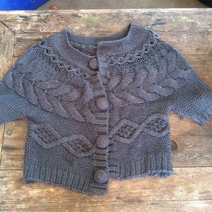 Grey women's short knit sweater