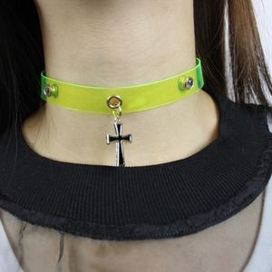 Neon Yellow Cross Vinyl Clear Choker necklace