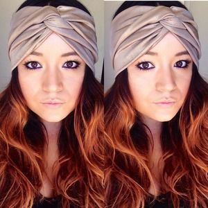 Faux turban in golden girl