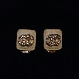 Authentic Chanel Rhinestone Clip Earrings