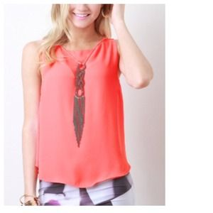 Tops - Coral Tank + Attached Braided Neckpiece