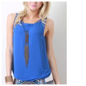 Tops - Royal Blue Tank + Attached Braided Neckpiece