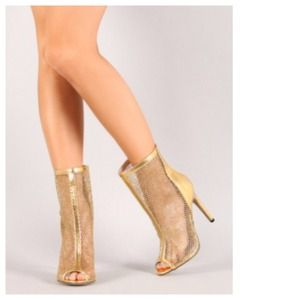 Boots - Gold Mesh + Faux Leather Stiletto Booties