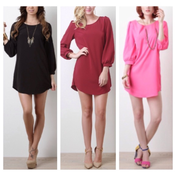 Images of Long Sleeve Tunic Dress - Reikian