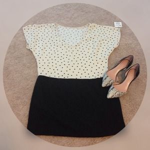 Zara Dresses & Skirts - Zara basics black & white polka dot dress