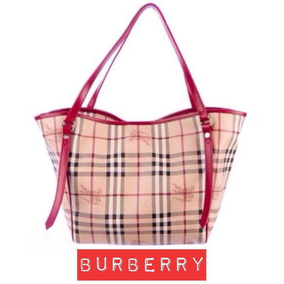 2a3780c5d71 ... buy popular 0d36f dd905 100% Authentic Burberry Haymarket Tote Red Trim  ...