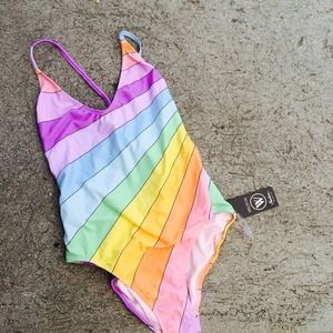 WILDFOX SZ Small Rainbow SWIMSUIT BIKINI NWT