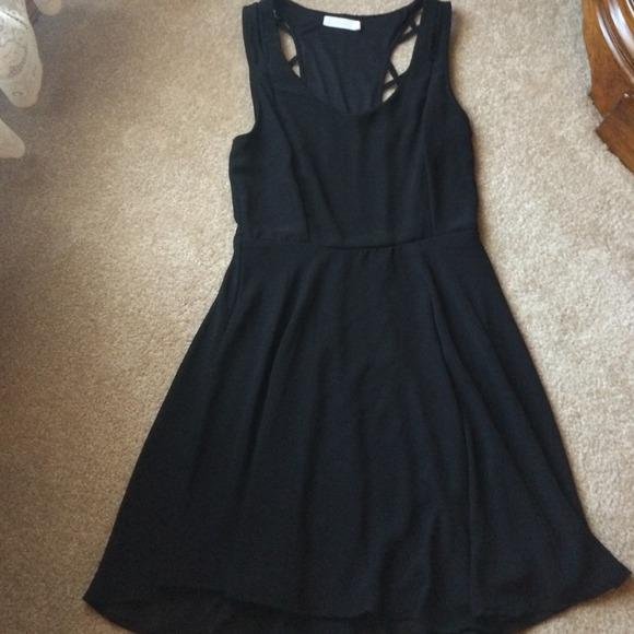 Lush Dresses & Skirts - Black chiffon dream dress. Lined. Side zip. Med