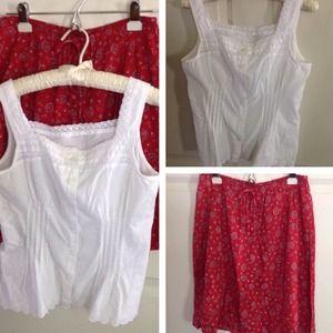 Cotton Summer Blouse & Skirt Set