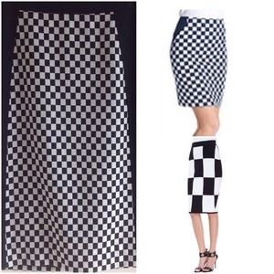 Black & White Checkered Pencil Skirt