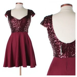 REDUCED! NWT ASOS Burgundy Sequin Dress - Size 6