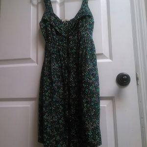Flower-print, zip up dress