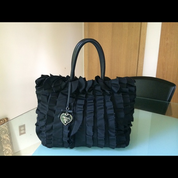 prada tessuto nylon tote black medium size authentic