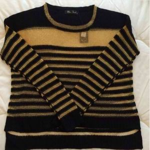 Miss Finch Tops - Black and gold chainmail sweater
