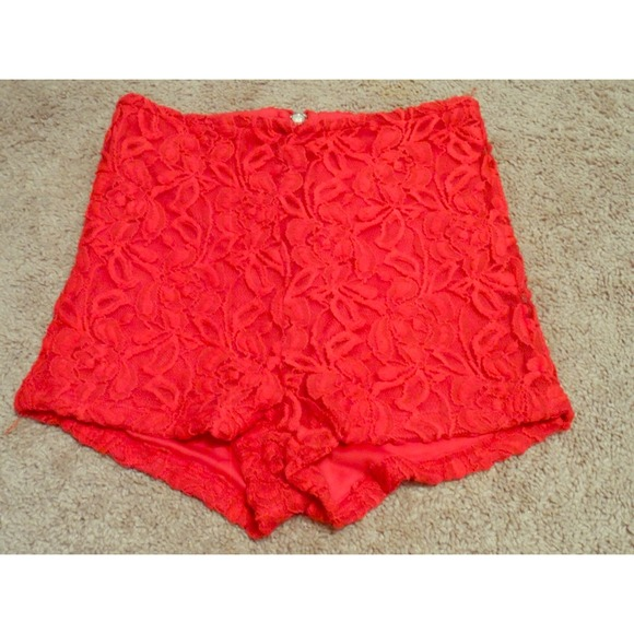 Charlotte Russe - High waisted red lace shorts from Pauline's ...