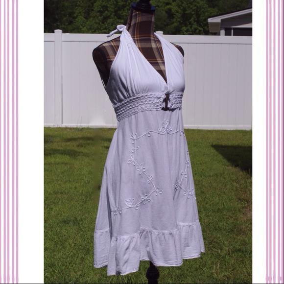 White Cotton Halter Dress