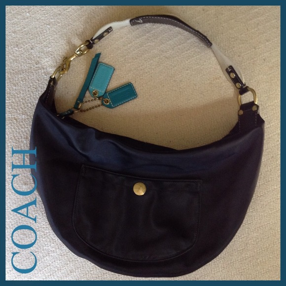 b534fa22a320 Coach Handbags - Coach HAMPTON large black teal hobo nylon weekend